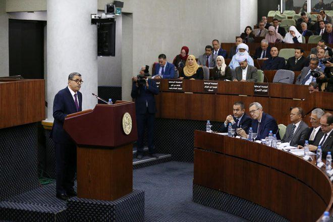 Le Premier ministre Abdelaziz Djerrad lors d'une présentation devant l'Assemblée nationale, en février 2020.