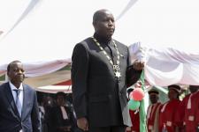Le président burundais ÉvaristeNdayishimiye à Gitega, en juin 2020.