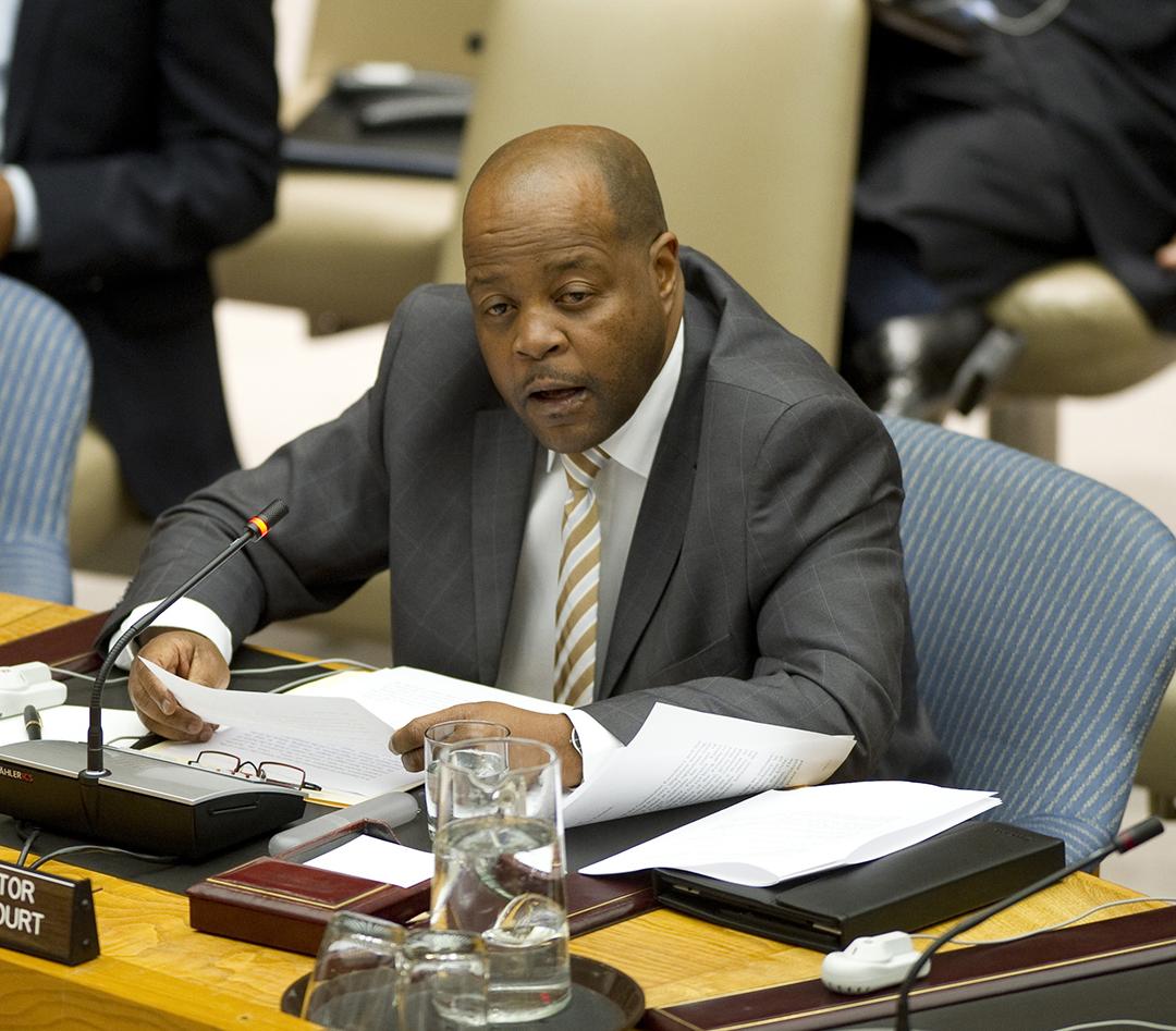 Phakiso Mochochoko, le directeur de la division de la compétence, de la complémentarité et de la coopération de la CPI, est également visé par les sanctions américaines. Ici, à l'ONU, le 17 octobre 2012.