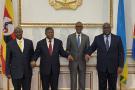 Yoweri Museveni, João Lourenço, Paul Kagame et Félix Tshisekedi lors du Troisième sommet quatripartite à Luanda, le 2 février 2020