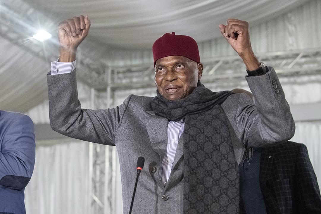 L'ex-président sénégalais Abdoulaye Wade, lors d'un comité directeur du Parti démocratique sénégalais (PDS), à Dakar, le 13 février 2019.