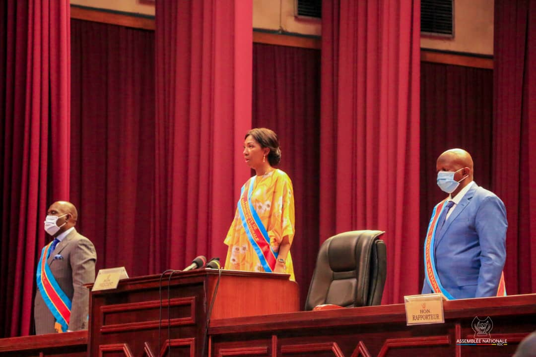 Jeanine Mabunda, présidente de l'Assemblée nationale de la RDC, lors de la rentrée parlementaire, le 15 septembre 2020.