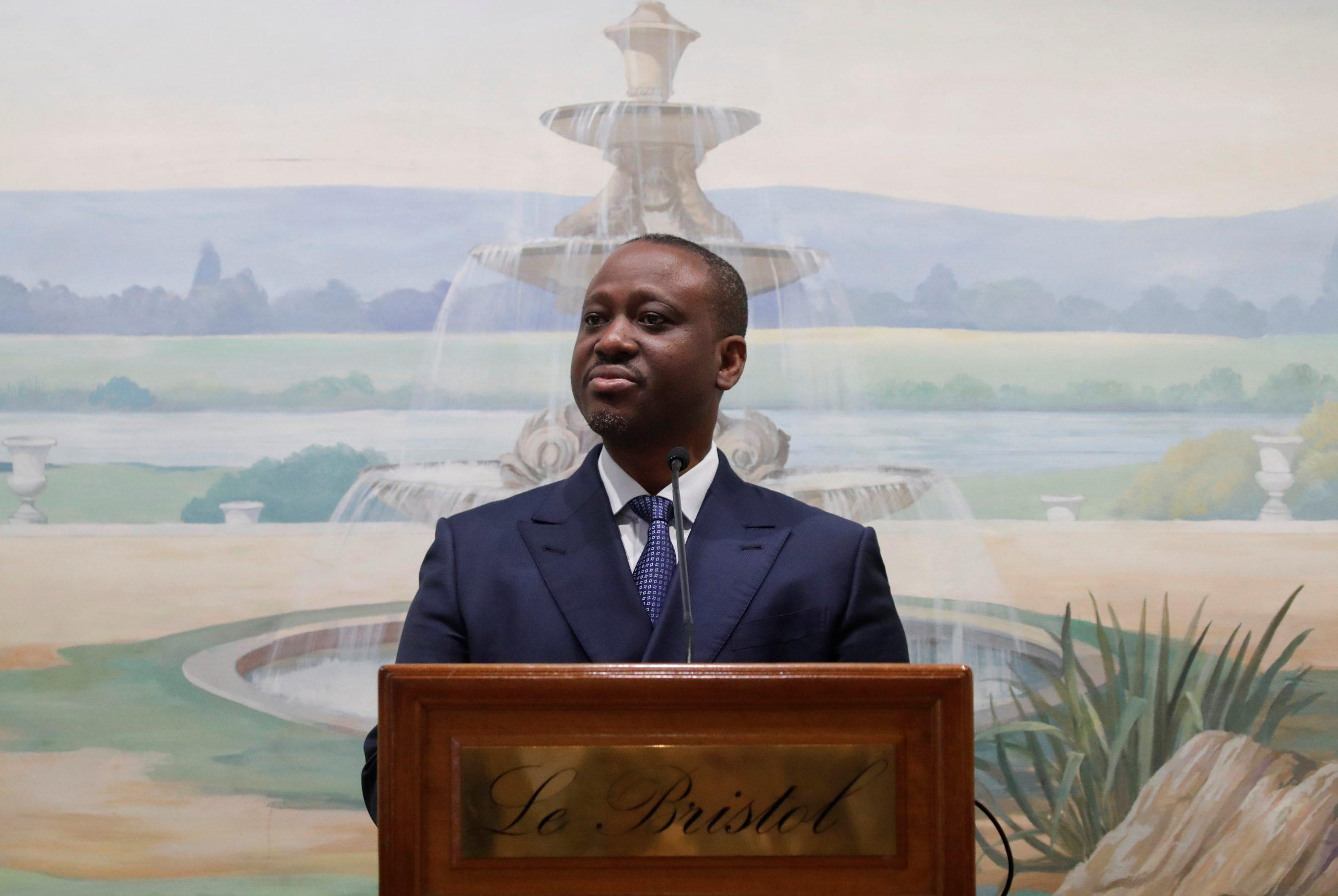 Guillaume Soro, lors d'une conférence de press à l'hôtel Bristol, à Paris, le 17 septembre 2020.
