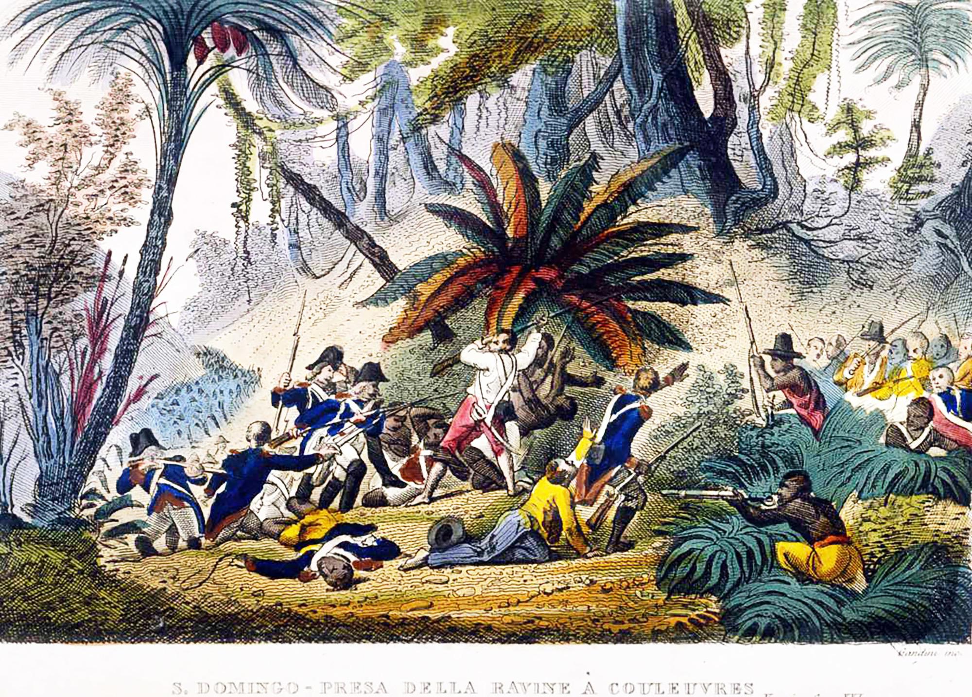 L'expédition Leclerc encercle les troupes de Toussaint Louverture lors de la prise de la Ravine-à-Couleuvres, le 23février1802.