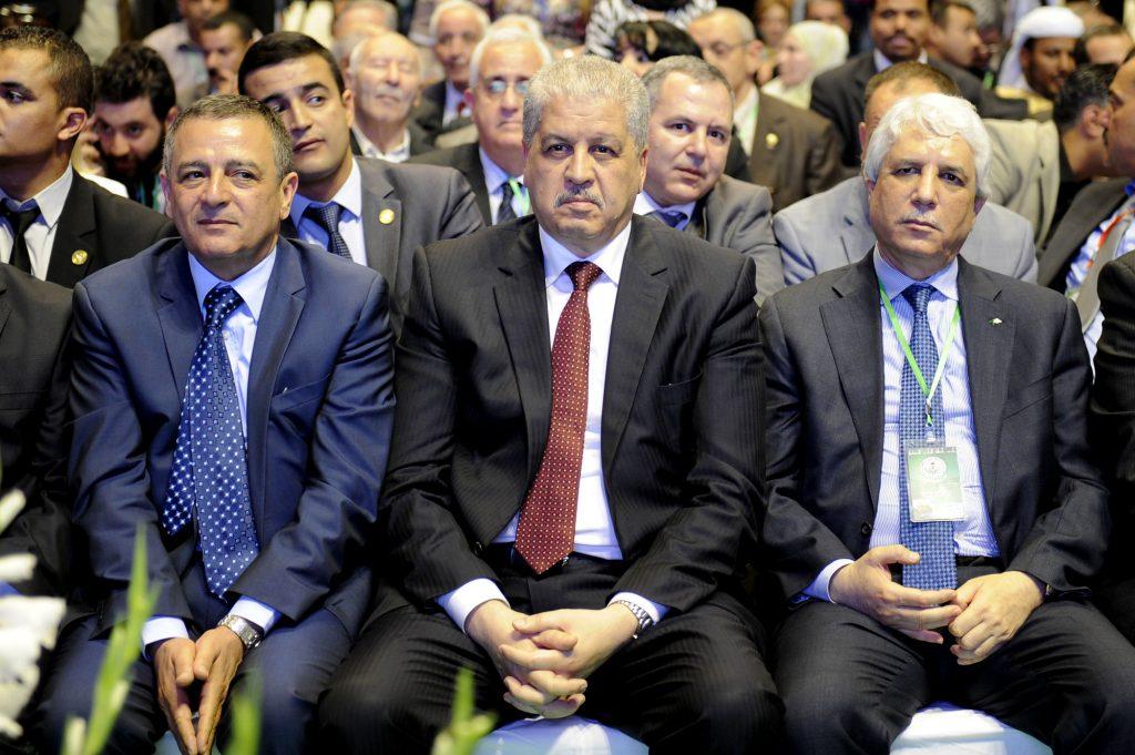 De g. à dr. : Abdeslam Bouchouareb, Abdelmalek Sellal et Tayeb Louh, au congrès du FLN, en 2015.