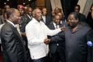 De g. à dr.: Alassane Ouattara, Laurent Gbagbo, Guillaume Soro et Henri Konan Bédié, le 30juin 2010, à Abidjan.