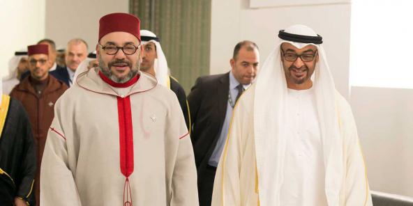 De Kinnek vu Marokko Mohammed VI a Mohammed ben Zayed Al-Nahyane, Prënz vun Abu Dhabi wärend der Aweiung vum Louvre Abu Dhabi Musée den 8. November 2017.