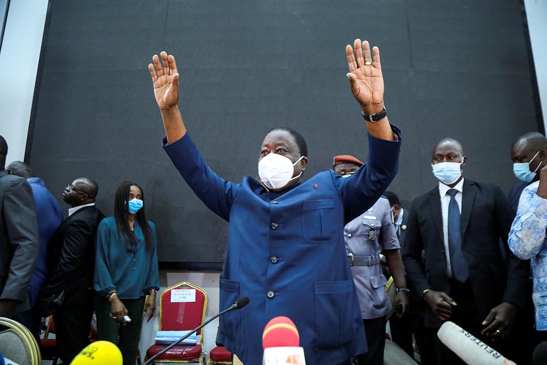 Henri Konan Bédié, candidat du PDCI, lors du meeting de l'opposition à Abidjan, le 20 septembre 2020.
