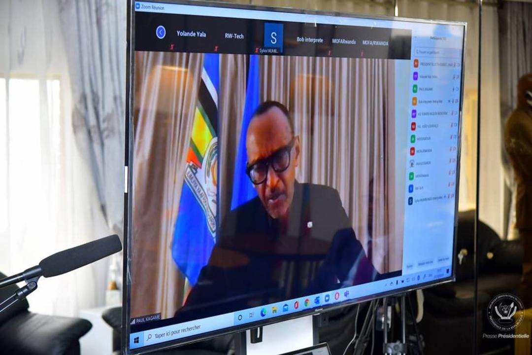 En visioconférence, le président rwandais Paul Kagame. Mini-sommet quadripartite RDC-Rwanda-Ouganda-Angola, 7 octobre 2020.