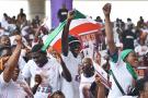 Des partisans du candidat à la présidentielle ivoirienne Kouadio Konan Bertin le 4 octobre 2020 à Abidjan.