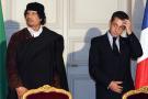 Mouammar Kadhafi et l'ex-président français Nicolas Sarkozy, à l'Élysée en 2007.