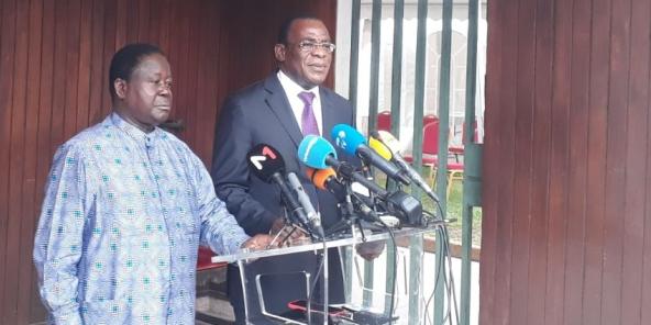 Henri Konan Bédié et Pascal Affi N'Guessan, le 15 octobre 2020 à Abidjan.