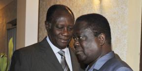 Alassane Ouattara et Henri Konan Bédié, en novembre 2010 à Abidjan.