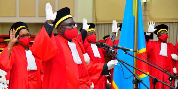 Des magistrats lors de leur prestation de serment de Félix Tshisekedi, le 4 août 2020.