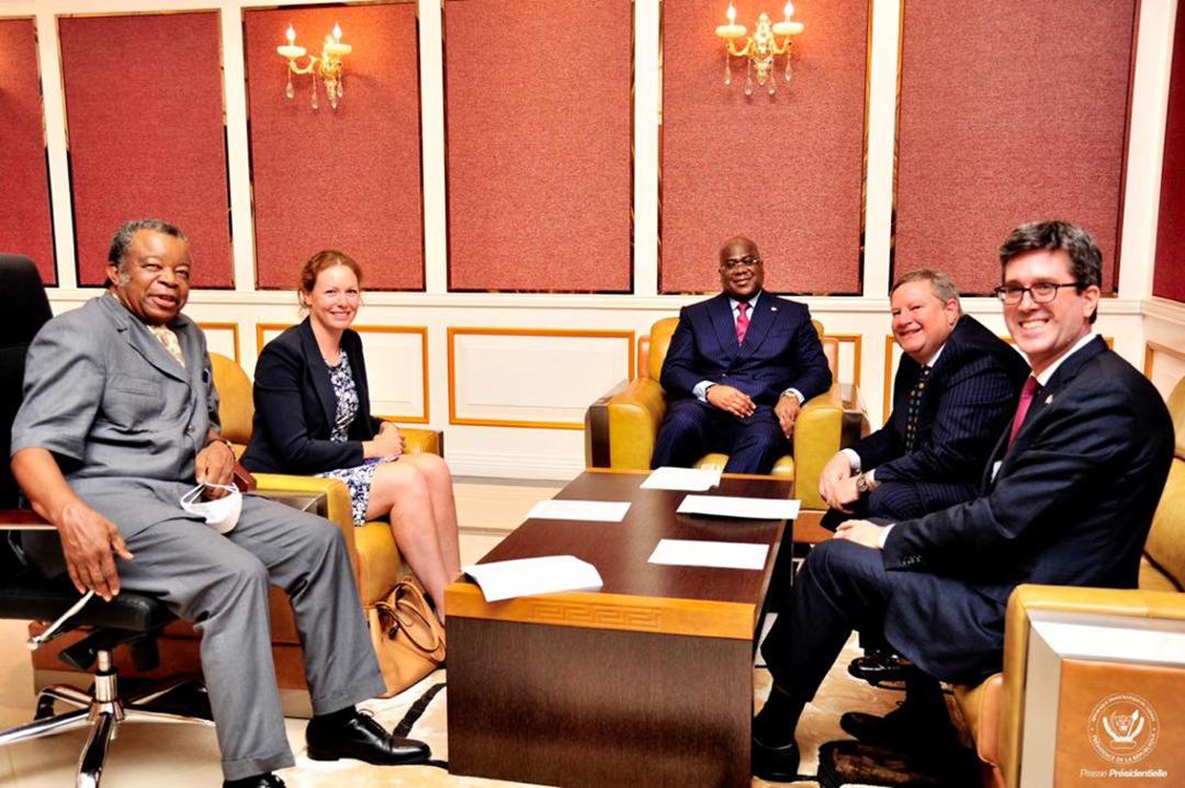 Félix Tshisekedi a reçu une délégation des diplomates parmi lesquels Mike Hammer des États Unis, Emily Maltman du Royaume Uni et Nicholas Simard du Canada, le 14 Septembre 2020.