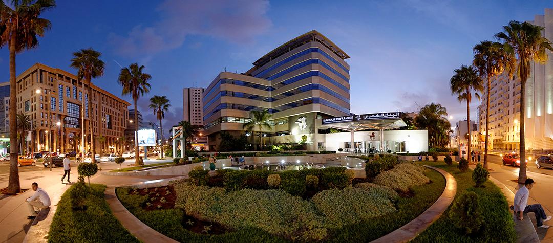 Siège administratif Banque Populaire de Casablanca au Maroc.