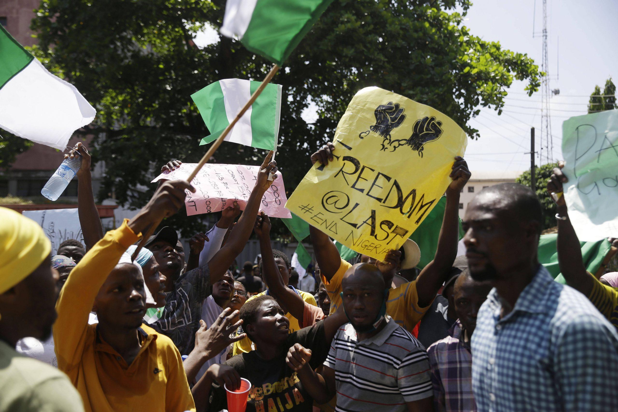 Lors d'une manifestation contre les violences policières à Lagos, le 20 octobre 2020.