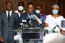 Pascal Affi N'Guessan, président du FPI, lors d'une conférence de presse le 1er novembre au domicile d'Henri Konan Bédié à Abidjan.