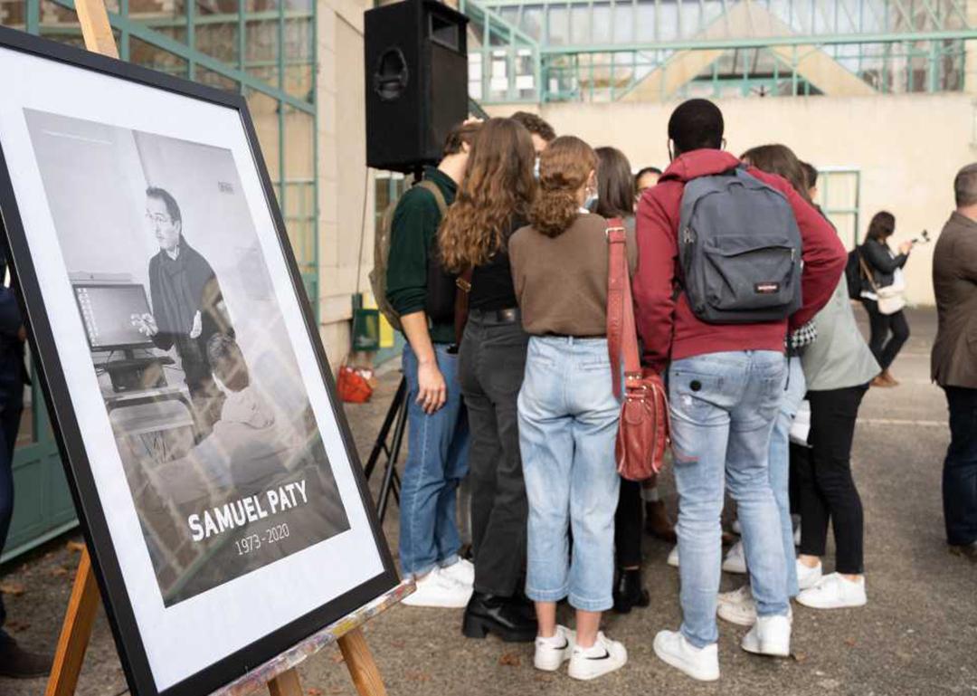 Hommage à l'enseignant Samuel Paty à Moulins, France, le 2 novembre 2020.