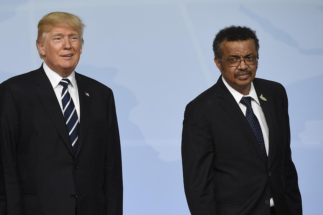 Donald Trump aux côtés de Tedros Ghebreyesus, lors du G20 à Hambourg, en juillet 2017.