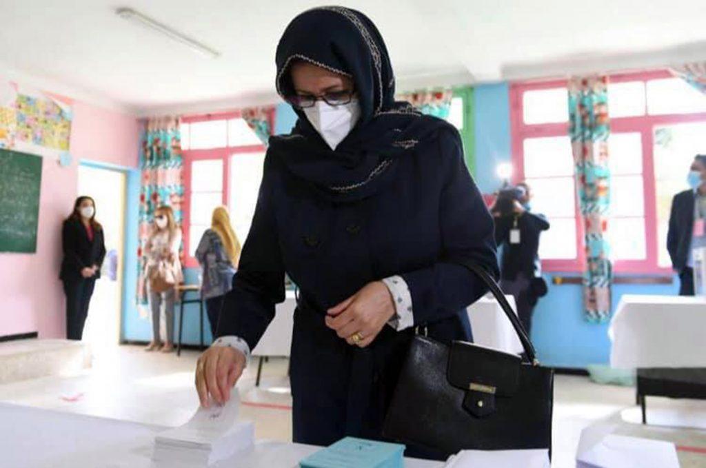 L'épouse du président Tebboune, le jour du référendum pour la réforme de la Constitution, le 1er novembre 2020.