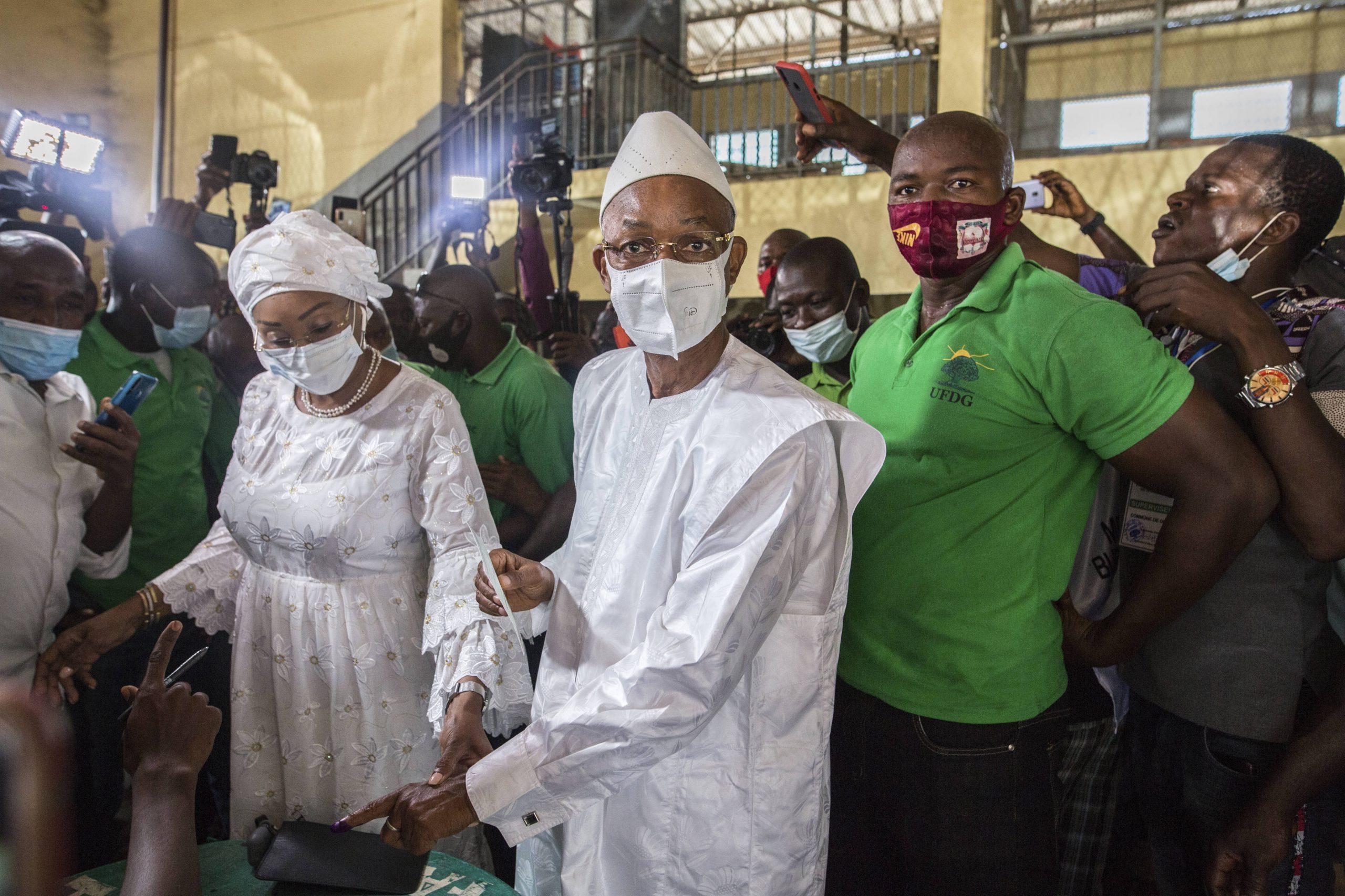 Cellou Dalein Diallo, lors du scrutin du 18 octobre en Guinée.