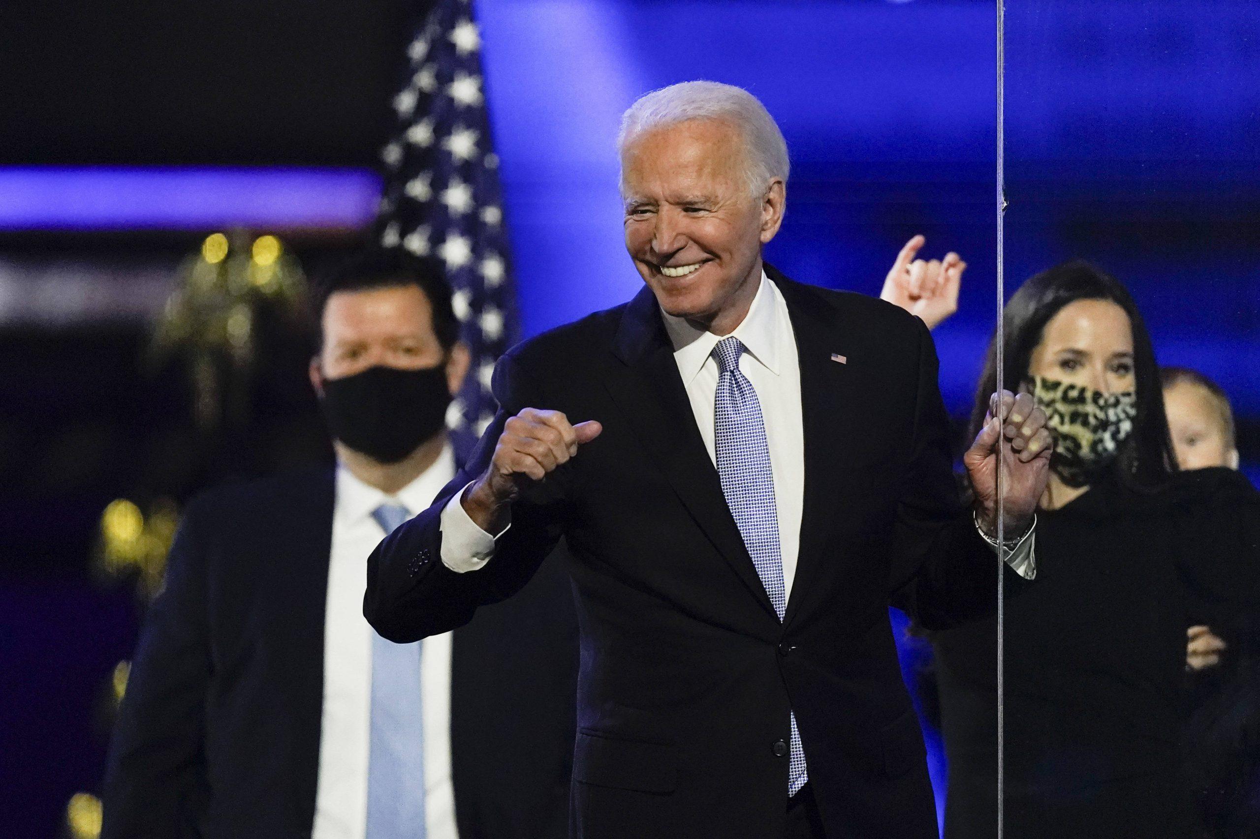 Joe Biden, président élu des Etats-Unis, le 7 novembre après son discours célébrant sa victoire, à Wilmington dans le Delaware.