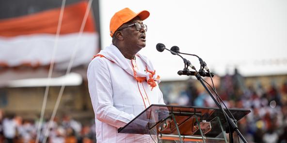 Roch Marc Christian Kaboré, lors de son premier meeting, à Bobo Dioulasso.