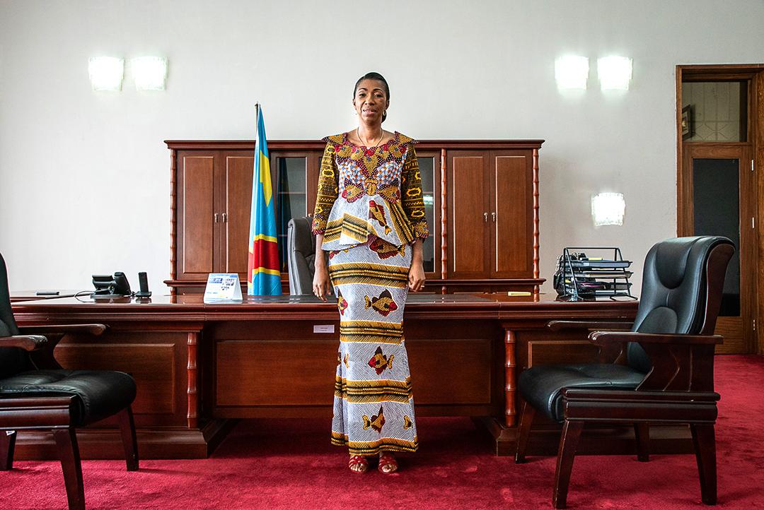 Jeannine Mabunda, dans son bureau du Palais du Peuple, siège de l'Assemblée, à Kinshasa, RDC, le 11 mai 2019.
