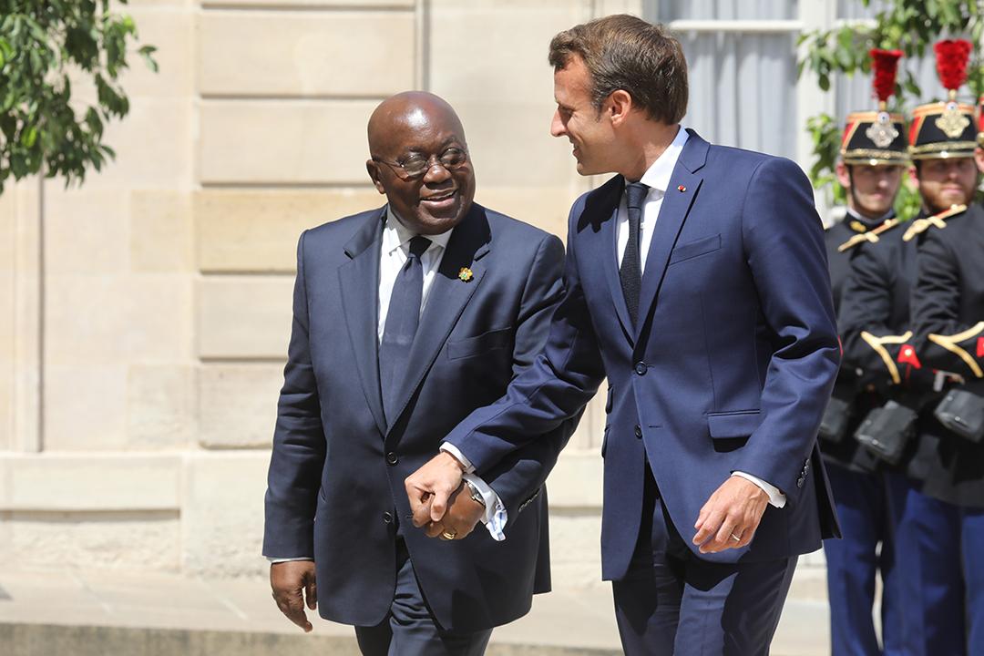 Avec le président ghanéen Nana Akufo-Addo, le 11 juillet 2019, à l'Élysée.