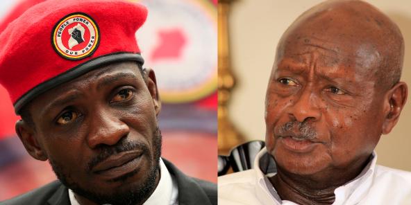 À gauche: le musicien ougandais devenu opposant Robert Kyagulanyi, alias Bobi Wine. À droite: son adversaire à la présidentielle, le chef de l'État sortant Yoweri Museveni.
