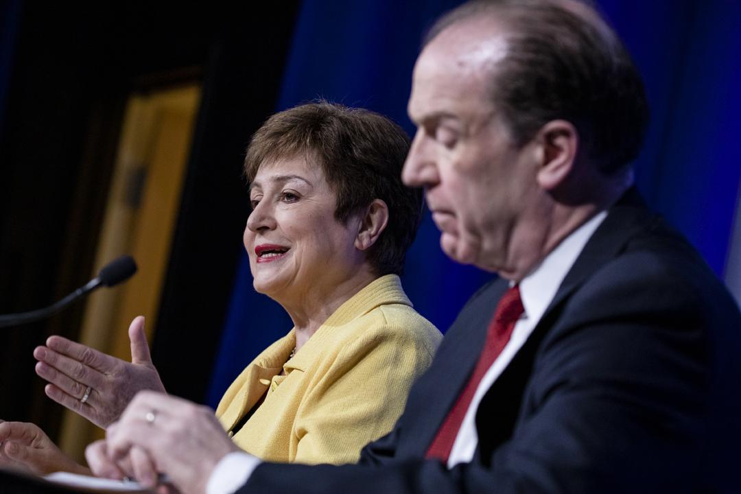 Kristalina Georgieva, la directrice générale du FMI, et David Malpass, le président de la Banque mondiale, à Washington, le 4 mars.