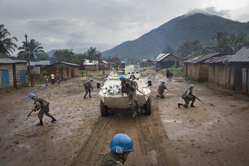 Une patrouille de la Monusco lors d'une aptrouille à Pinga, après le retrait de miliciens des NDC, en 2013.