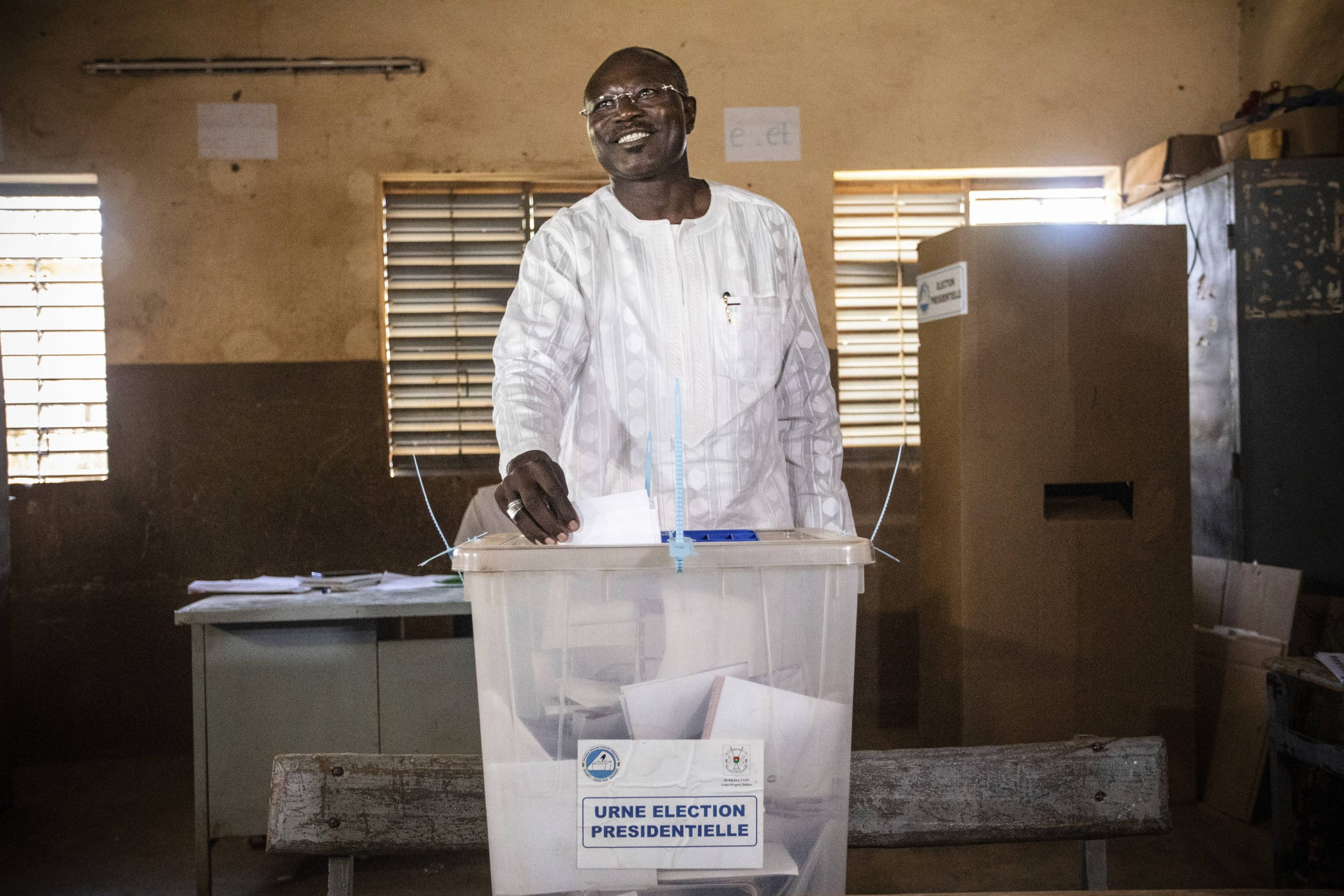 Eddie Komboïgo, lors du scrutin présidentielle du 22 novembre à Ouagadougou.
