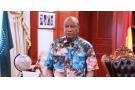 Alpha Condé, le 24 octobre 2020 aupalais Sékhoutouréya, lorsqu'il avait lancé un appel «à la paix et à la concorde» après avoir été déclaré vainqueur de la présidentielle.