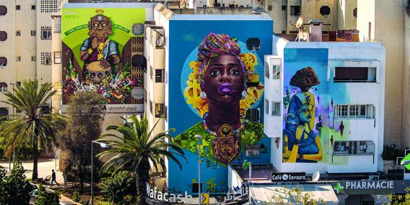À Casablanca, lors la 4e édition de Casamouja Urban Art Wave, en 2019.