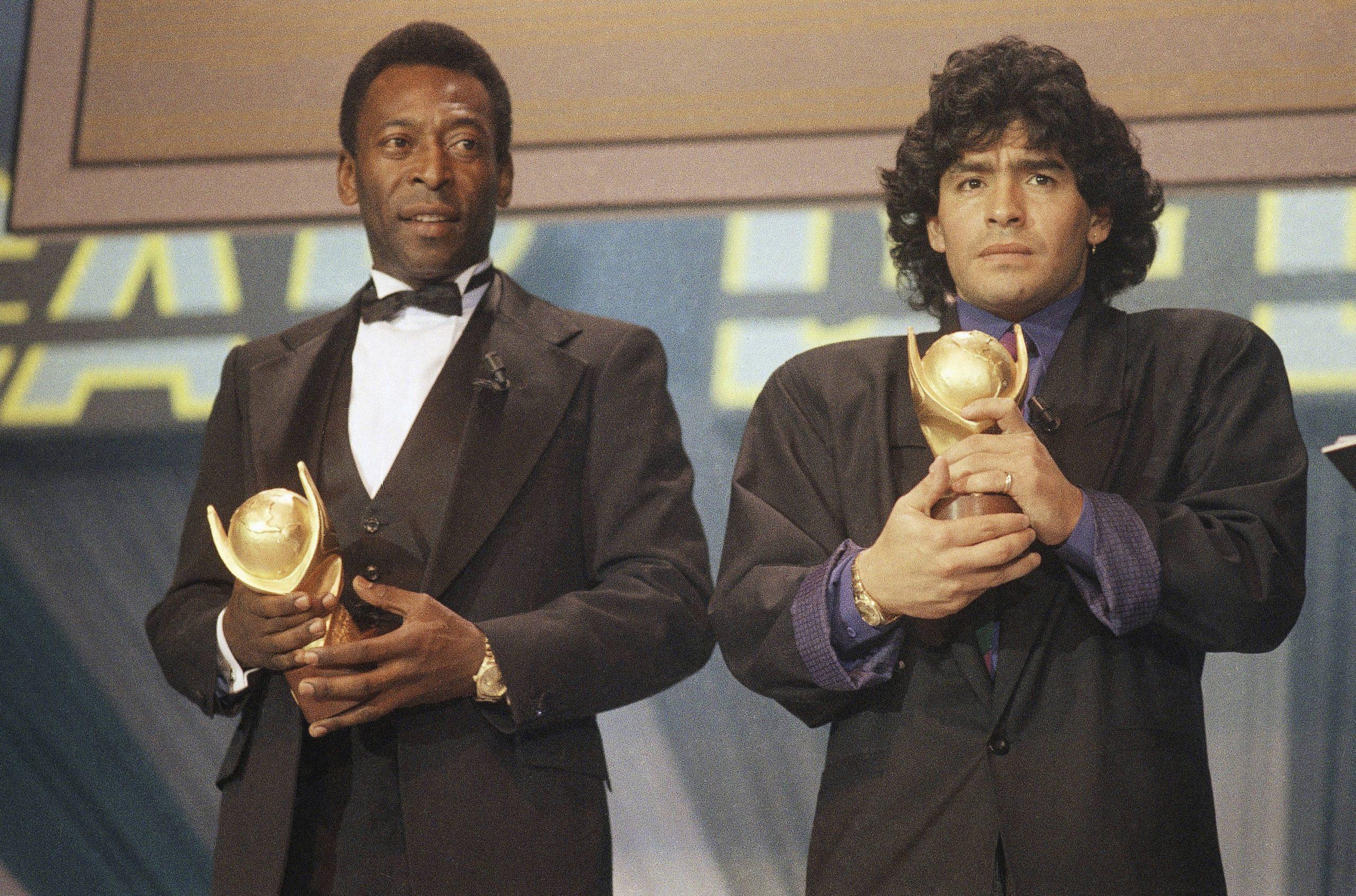Maradona et Pelé, en 1987.