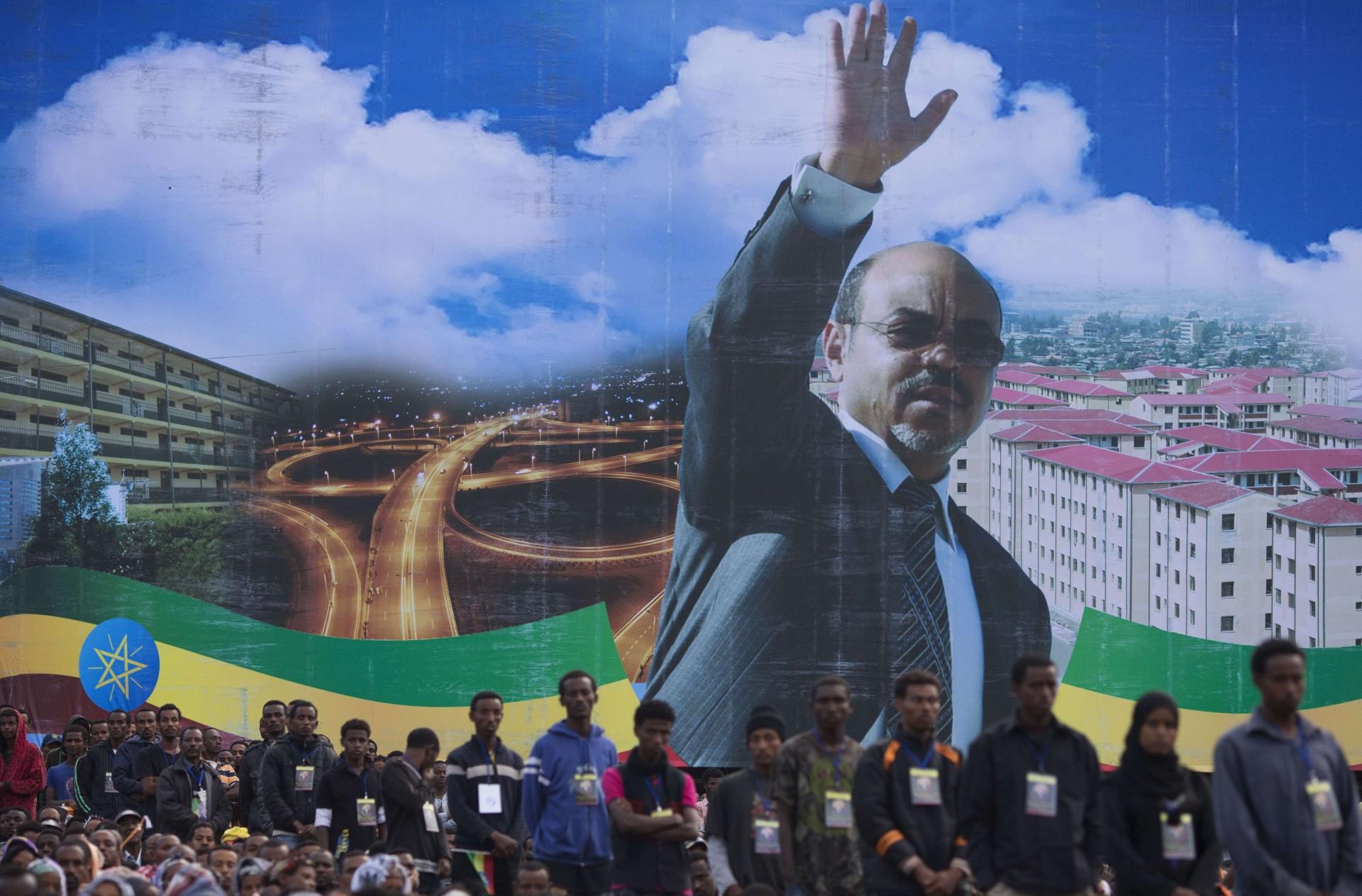 Un portrait de Meled Zenawi, lors de ses funérailles nationales, le 30 août 2012 à Addis-Abeba.