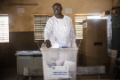 Eddie Komboïgo lors du scrutin présidentiel, le 22 novembre à Ouagadougou.