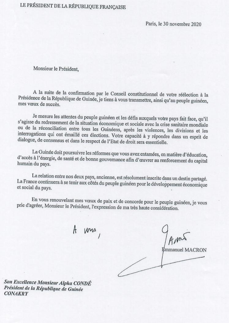 La lettre d'Emmanuel Macron à Alpha Condé, datée du 30 novembre 2020.