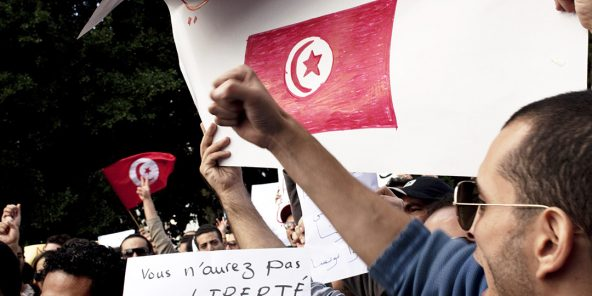 Manifestation pour la liberté d'expression en Tunisie.
