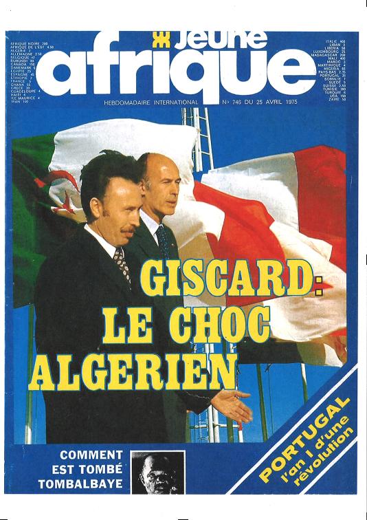 Couverture du magazine Jeune Afrique n°745, paru le 25 avril 1975.