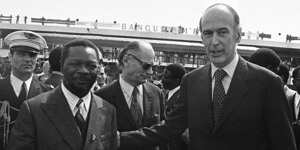 Vamléry Giscard d'Estaing et Jean Bedel Bokassa, le 6 mars 1975 à Bangui.