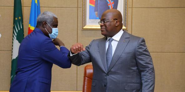 Félix-Antoine Tshisekedi a reçu en audience Moussa Faki Mahamat, président de la Commission de l'Union africaine, le 3 décembre 2020.