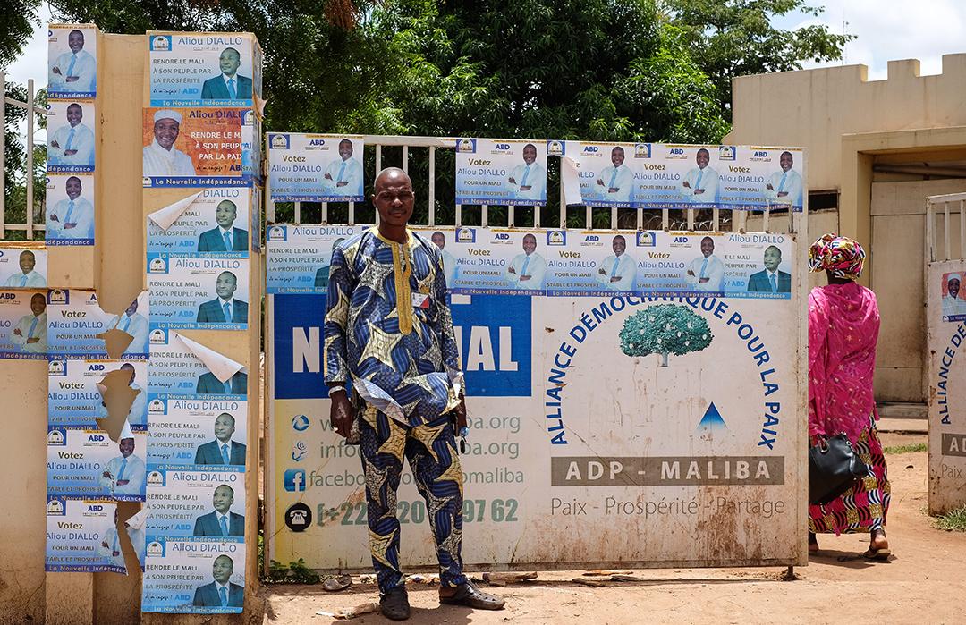 Des affiches du candidat Aliou Boubacar Diallo, en juillet 2018 à Bamako, lors de la campagne présidentielle.