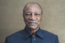 Alpha Condé, le président guinéen, lors d'une interview avec Jeune Afrique, en octobre 2016.