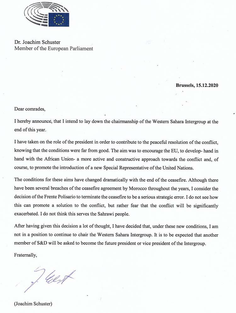Lettre de démission du député européen Joachim Schuster