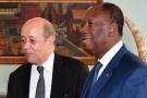 Jean-Yves Le Drian et Alassane Ouattara, en 2018.