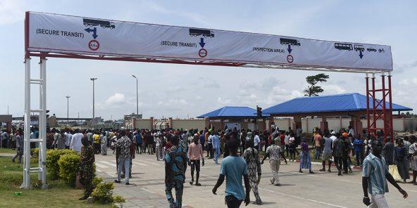 Au poste frontière de Seme, entre le Bénin et le Nigeria, en octobre 2018.