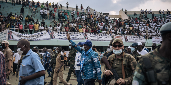 Le président Faustin-Archange Touadéra, candidat à un second mandat, lors d'un meeting à Bangui, le 19 décembre 2020.